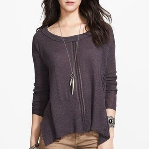 Free People Gray Hi-lo Lace Road Thermal Top M